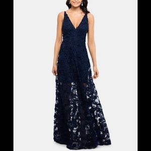 Xscape Navy Floral Lace Illusion Gown Petite